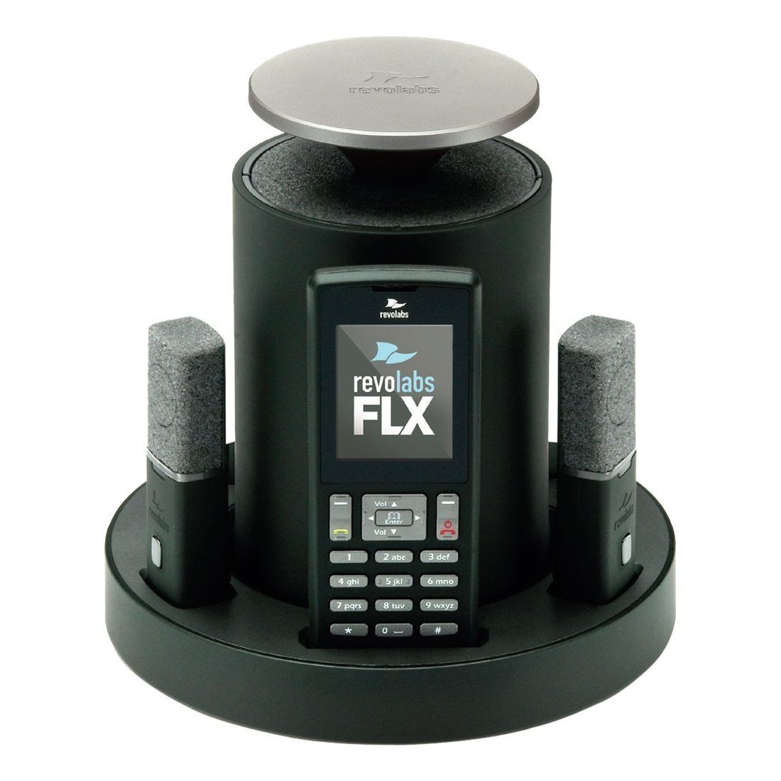revolabs flx 2 voip with one omni one wearable microphone connect to computer usb. Black Bedroom Furniture Sets. Home Design Ideas
