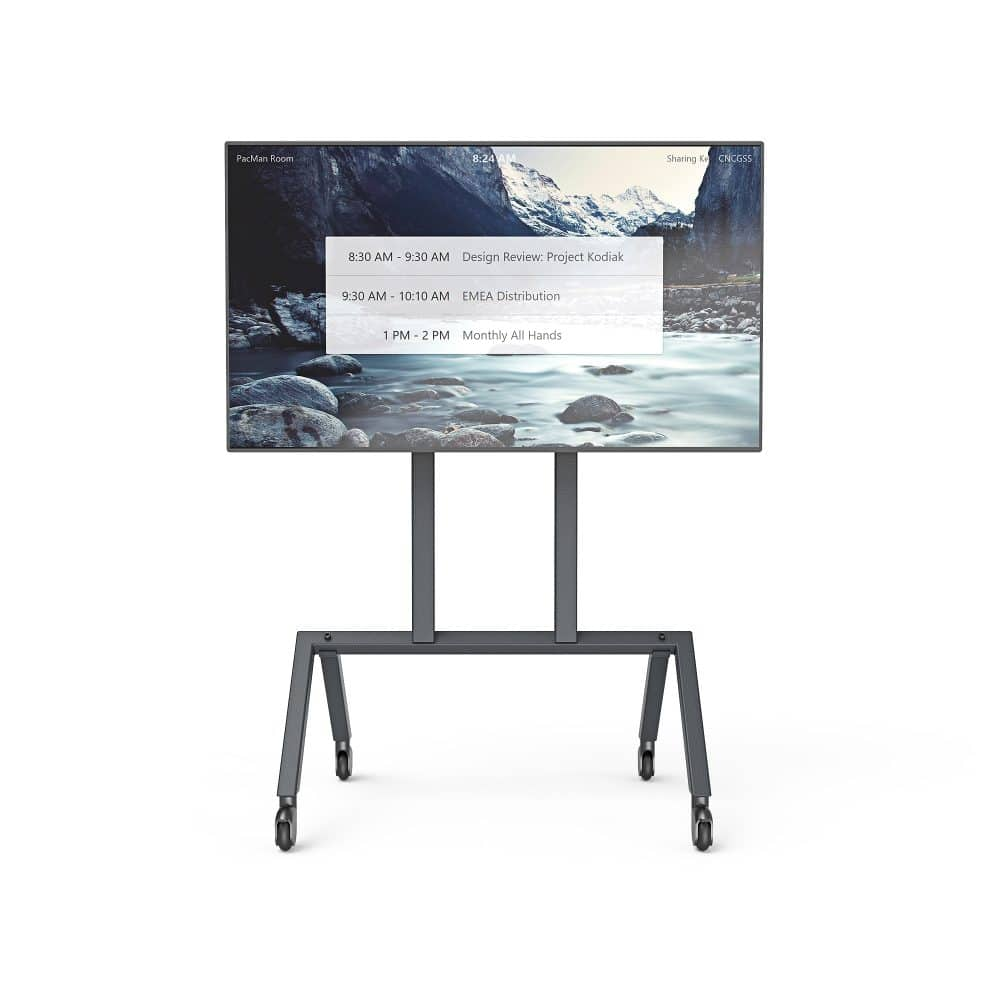 Heckler Design Single Display AV Cart Facing Forward with Display Powered On
